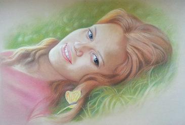 Настоящий портрет пастелью для любимой девушки в Шимкенте, просто и со вкусом!