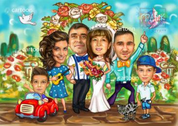 Шарж по фото на годовщину свадьбы на заказ в Шимкенте…