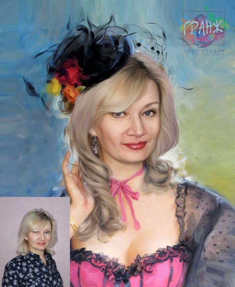 Заказать арт портрет по фото на холсте в Шимкенте